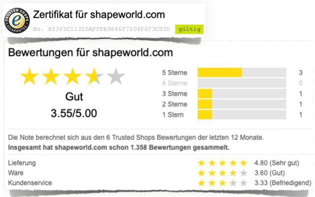 Shape World Trustedshops Erfahrungen Bewertung Test Kritik 2019