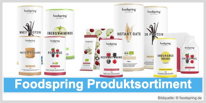 Foodspring Produkt Sortiment