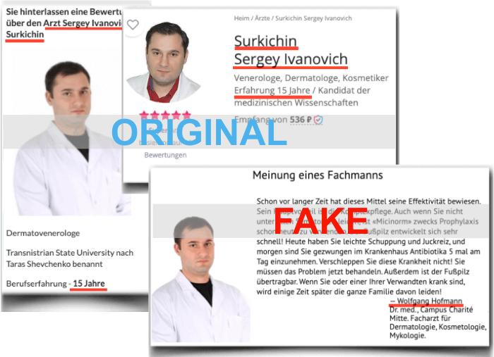 Micinorm Fake Arzt für Werbezwecke