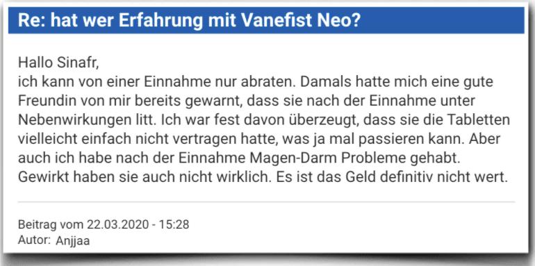 Vanefist Neo Erfahrungsberichte Bewertung Kritik Vanefist Neo