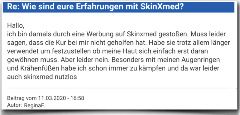 skinXmed Erfahrungsbericht Bewertung Kritik skinXmed