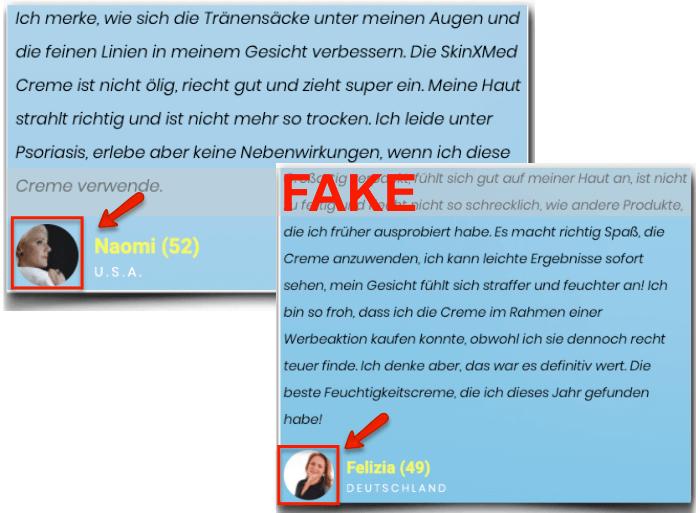 skinXmed Fake Erfahrungsberichte