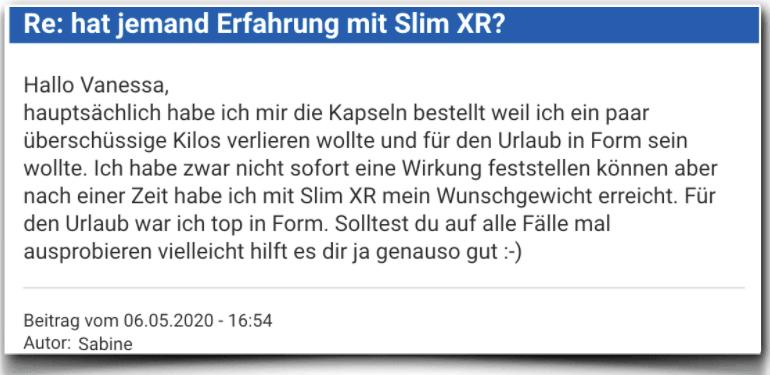 Slim XR Bewertung Kritik Erfahrungsbericht Slim XR
