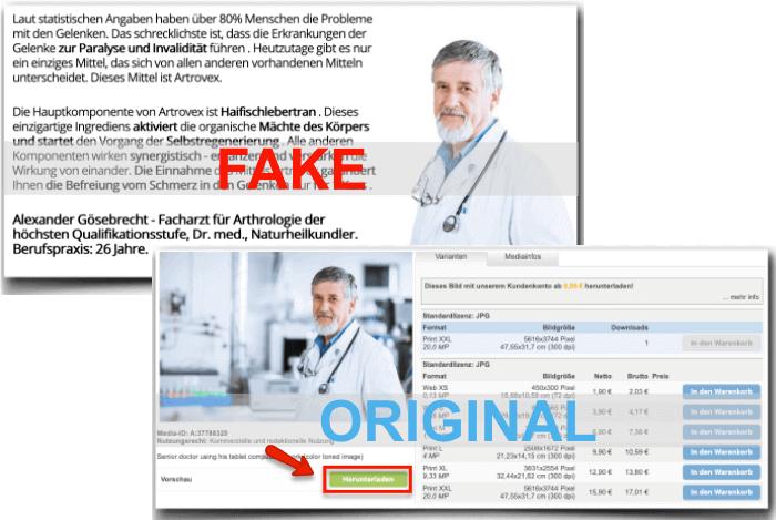 Artrovex Fake Arztbericht