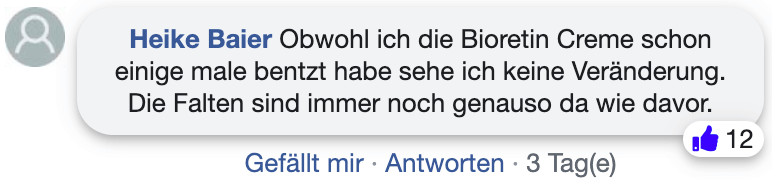 Bioretin Erfahrungsberichte Kritik Facebook