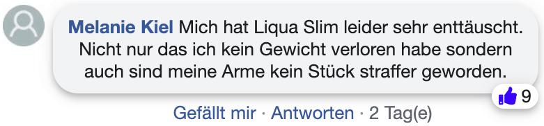 Liqua Slim Erfahrungsberichte Kritik facebook
