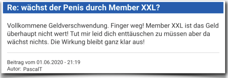 Member XXL Erfahrungsbericht Bewertung Kritik Member XXL