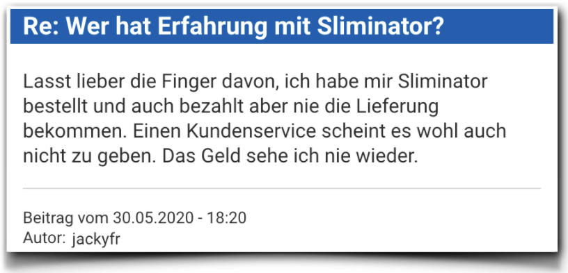 Sliminator Bewertung Erfahrungsberichte Sliminator