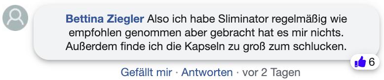 Sliminator Erfahrungsbericht Kritik facebook