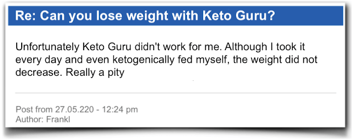 Keto Guru Field report Evaluation Criticism Keto Guru