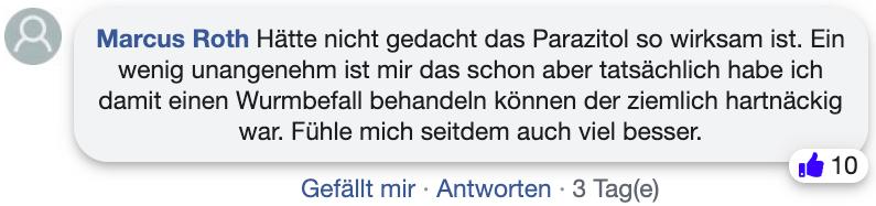 Parazitol Bewertungen Erfahrungsbericht facebook