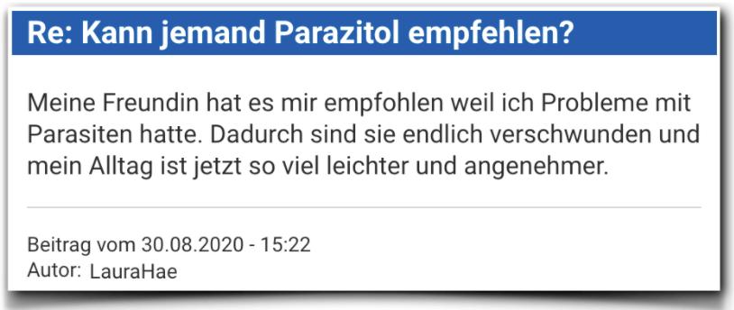 Parazitol Erfahrungsbericht Bewertung Parazitol