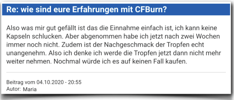 CFBurn Erfahrungsbericht Bewertung Kritik CFBurn