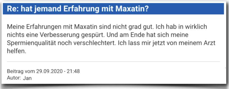 Maxatin Erfahrungsbericht Bewertung Kritik Maxatin