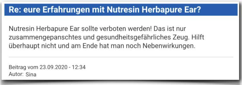 Nutresin Herbapure Ear Bewertung Erfahrungsbericht Kritik Nutresin Herbapure Ear